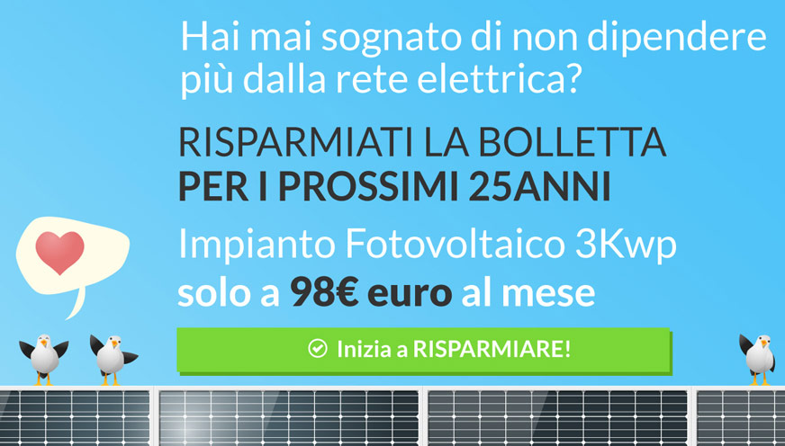 impianto fotovoltaico a 98 euro al mese